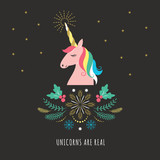 Merry Christmas or New Year greeting card with Unicorn, vector illustration on black background - 229536450
