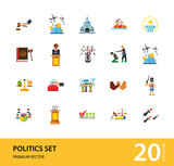 Politics Icon Set. Debates Politician Politics Leadership Vote White House Demonstration Election Electorate Refugees Hostage War Combat - 229539210