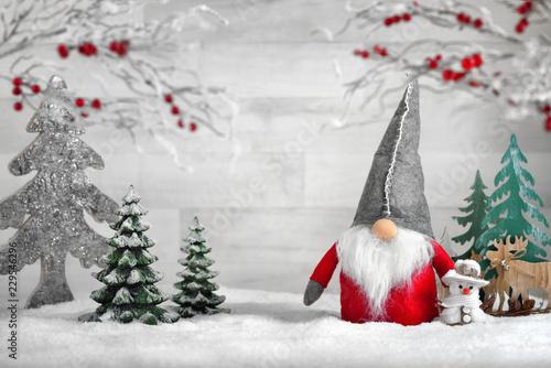 Leinwanddruck Bild Deko-Arrangement für Weihnachten und Winter