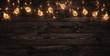 Leinwanddruck Bild - Empty, dark wooden background illuminated by retro light bulbs, with copy space
