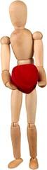 Miniature wooden mannequin holding a heart © BillionPhotos.com