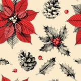 Seamless pattern with holly leaves and poinsettia - 229570428