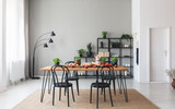 Black chairs at wooden table with food in grey dining room interior with plants and lamp. Real photo - 229574038