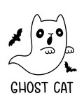An Outline Black And White Drawing Of A Spooky Halloween Ghost Cat With Bats