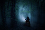 A rider on a motorcycle in a haunted misty forest - 229575608
