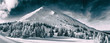 Leinwandbild Motiv Beautiful winter landscape of The Carpathian Mountains. Petros peak covered with snow.