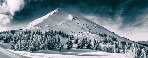 Beautiful winter landscape of The Carpathian Mountains. Petros peak covered with snow. © volff