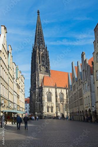 canvas print picture Lambertikirche am Prinzipalmarkt, Münster,  Westfalen, Deutschland