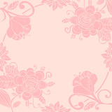 Cute pastel floral invitation card with round thin line frame. Paradise fantasy flowers with curls, leaves isolated on pink. Tropical doodle floral border, frame. Vector illustration.