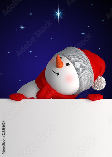 Leinwanddruck Bild 3d render, digital illustration, happy snowman, starry night, presentation, blank page, midnight, Merry Christmas greeting card, New Year symbol, winter holiday background