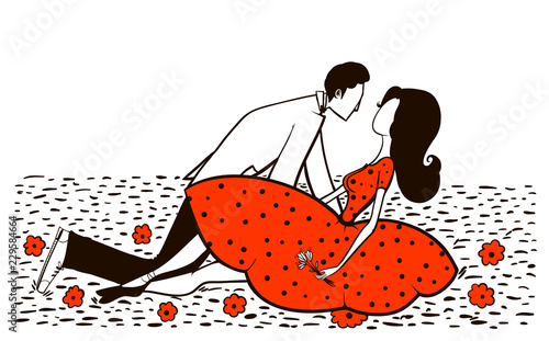 Lovers. Man and woman on the meadowghvgh - 229584664