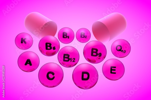 Leinwanddruck Bild Open capsule with essential vitamin pills on pink background. Vitamin and mineral complex. Healthy life concept. Medical background. 3d illustration