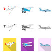 Vector illustration of plane and transport sign. Set of plane and sky stock symbol for web.