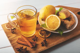 hot ginger tea with lemon. flu cold season drink - 229590485