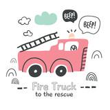 Fire truck illustration in scandinavian style