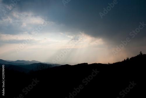 canvas print picture Thunderstorm over the black forest / Gewitterstimmung über dem Schwarzwald