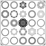 Vintage set of round elements. Different elements for decoration and design frames, cards, menus, backgrounds and monograms. Classic black patterns. Set of vintage patterns - 229602020