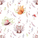Cute baby animal nursery mouse, rabbit and bear isolated illustration for children. Watercolor boho forest drawing squirrel, watercolour, hedgehog image Perfect for nursery posters, patterns - 229602220
