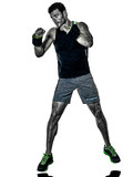 one caucasian fitness man exercising cardio boxing exercises in studio  isolated on white background - 229607091