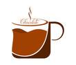 A mug of hot chocolate - brown mug on a white background.
