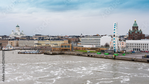 Leinwanddruck Bild View of Helsinki from the departing ferry