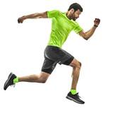 one caucasian man runner running jogging jogger silhouette isolated on white background - 229610464
