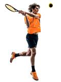 one caucasian hispanic tennis player man in studio silhouette isolated on white background - 229615678