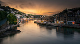 View into Looe Harbour at Sunset