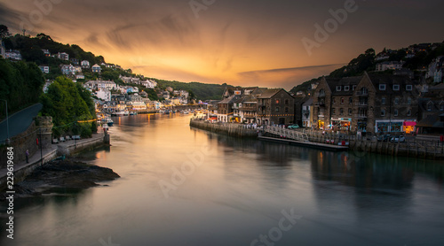 Foto Murales View into Looe Harbour at Sunset