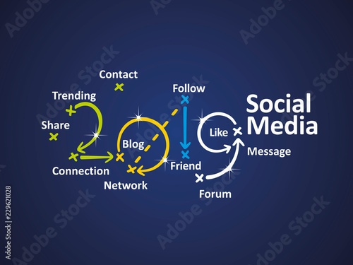 Social Media 2019 word cloud blue background vector