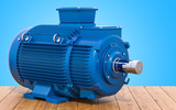 Blue industrial electric motor on the wooden table, 3D rendering - 229624698