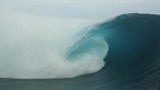 Man body surfing a perfect barrel in teahupoo french polynesia tahiti - 229626873