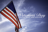 American flags with a Veterans Day greeting with blue sky baacakground - 229637612