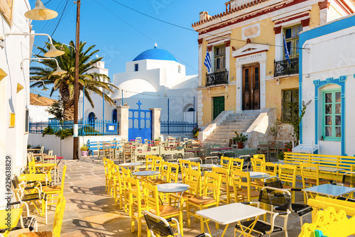 Magical main square of Chora in Serifos. Cyclades, Greece