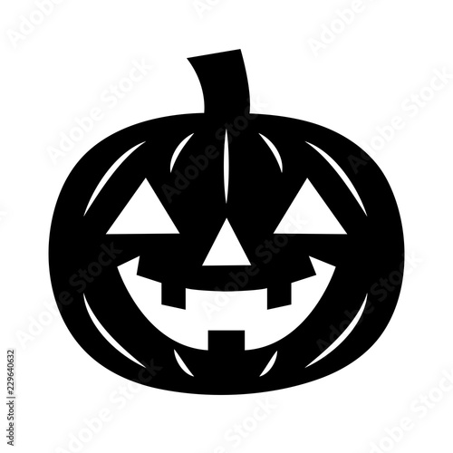 Simple Flat Jack O Lantern Icon Black Silhouette Isolated On