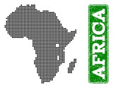 Dotted map of Africa and rubber caption. Vector green title inside rounded rectangle and scratched rubber texture. Pixelated map of Africa constructed with black pattern of round dots.