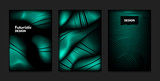 Distortion of Wavy Lines. Turquoise Abstract Backgrounds with Vibrant Gradient. Movement and Volume Effect. Futuristic Cover Templates Set for Presentation, Poster, Brochure. Distortion of 3d Shapes.