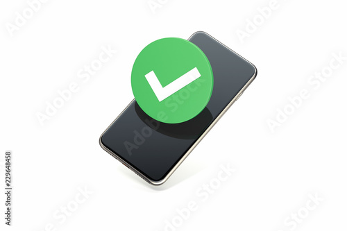 Check mark symbol on mobile phone screen  Tick icon  3d rendering