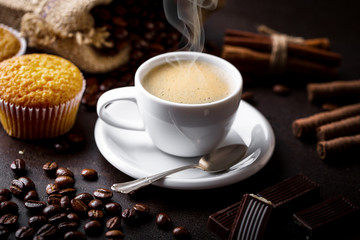 Black coffee on old background