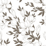 Vintage Magnolia flowers and buds. Seamless pattern. Vector Illustration - 229662429