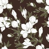 Vintage Magnolia flowers and buds. Seamless pattern. Vector Illustration - 229662437