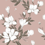 Vintage Magnolia flowers and buds. Seamless pattern. Vector Illustration - 229662455