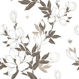 Vintage Magnolia flowers and buds. Seamless pattern. Vector Illustration - 229662468