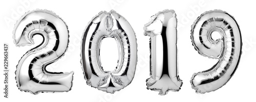 Numbers 2019 made of  silver balloons isolated on white background.New year concept.