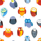 Owls cartoon kid funny characters with feather ornament seamless pattern.