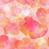 Seamless pattern of pastel watercolor hearts on a pink background, a Valentine day or wedding repeat print