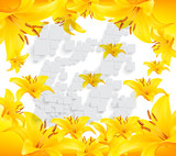 Bright background, yellow lilies, gray three-dimensional squares