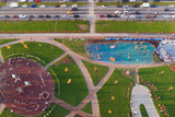 Large city Park, lawns and playgrounds, leisure for families  - 229696612