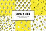 Memphis seamless patterns set