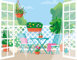 Vector flat illustration. Expanded doors to the balcony with furniture and pots of flowers. - 229700840
